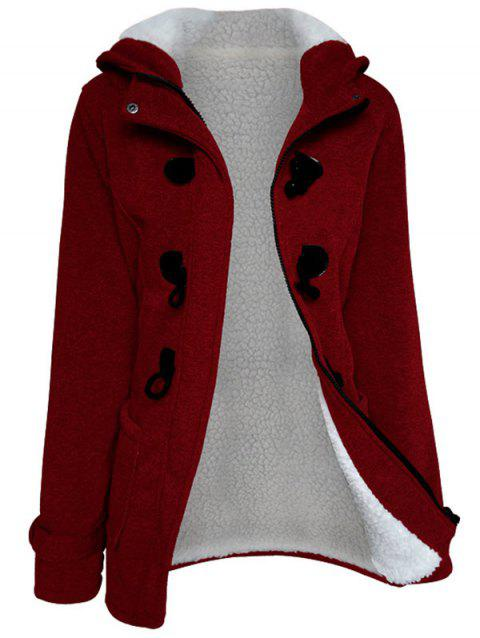 e2b79b665c340 LIMITED OFFER  2019 Plus Size Duffle Hooded Coat In RED 2X ...