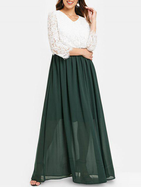 Lace Bodice Color Block Maxi Dress