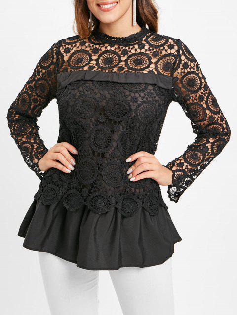 Lace Spliced Long Sleeves Blouse - BLACK 2XL
