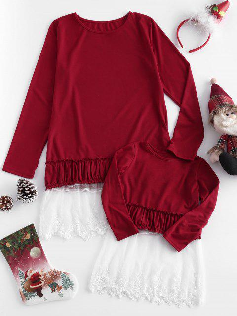 Lace Panel Flounce Family Matching Christmas T-shirt - RED WINE KID S