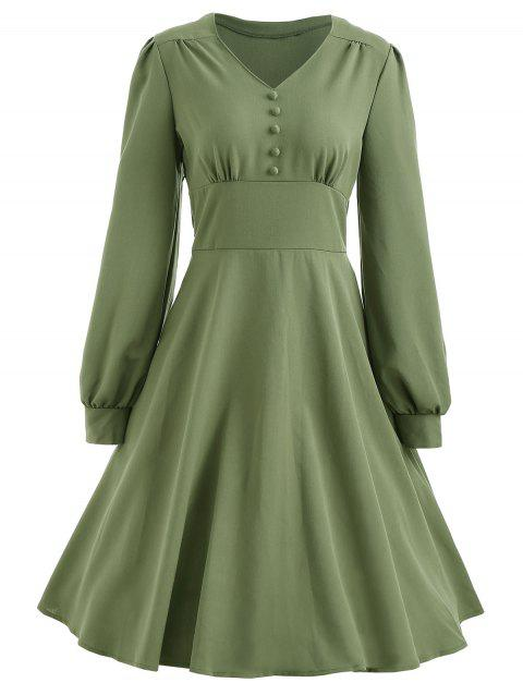 Long Sleeve Vintage Swing Dress - FERN GREEN M