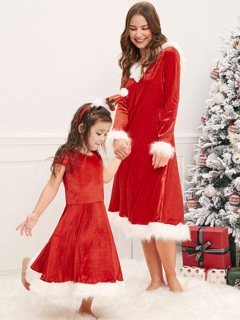 Christmas Mother and Daughter Fluffy Dress - RED KID 5T