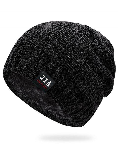 Letter Solid Color Winter Beanie - BLACK