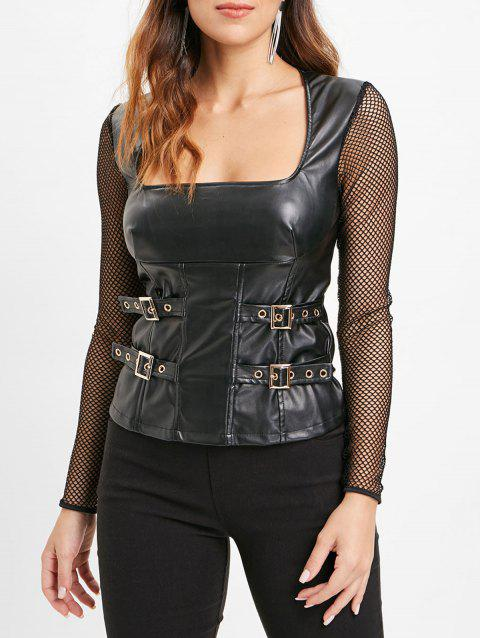 Long Sleeve PU Top with Fishnet - BLACK M