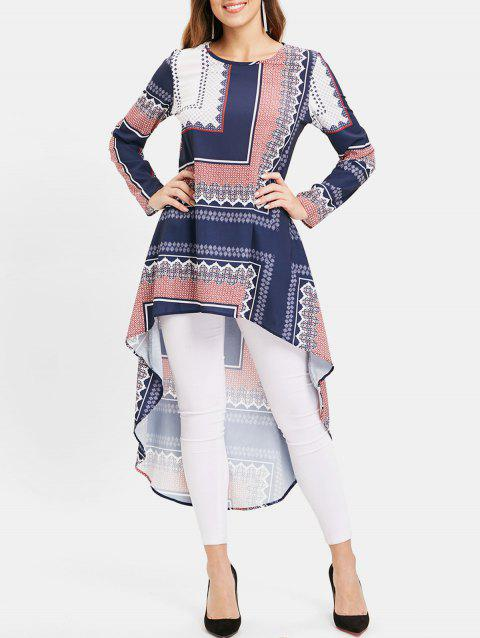 Tribal Print High Low Long Sleeve Dress - CHESTNUT RED M