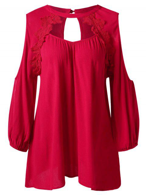 Cut Out Eyelash Lace Cold Shoulder Blouse - RED 2XL