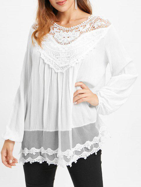 Lace Insert Tunic Blouse - WHITE M