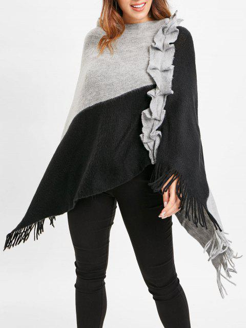 Cape Pull en Blocs de Couleurs à Volants - Noir ONE SIZE