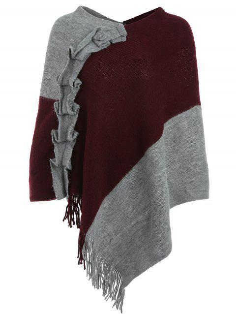 Cape Pull en Blocs de Couleurs à Volants - Rouge Vineux ONE SIZE
