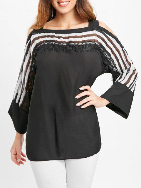 Lace Insert Striped Blouse