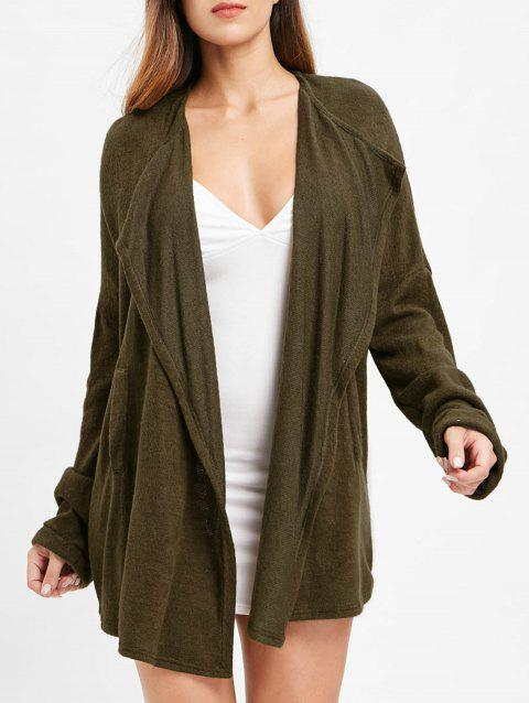 Open Front Knitted Cardigan - ARMY GREEN M