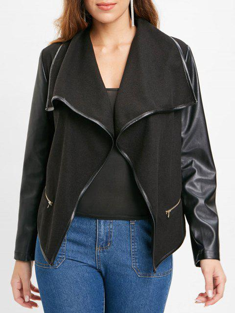 Open Front PU Leather Panel Jacket - BLACK M