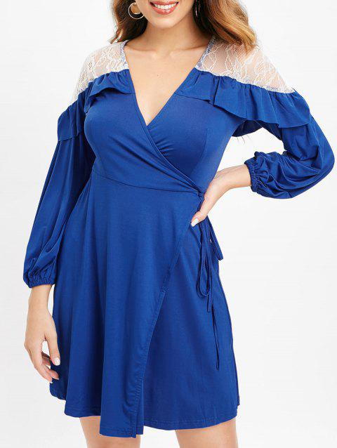 Ruffles Long Sleeve Plunging Neck Belted Dress - DEEP BLUE XL