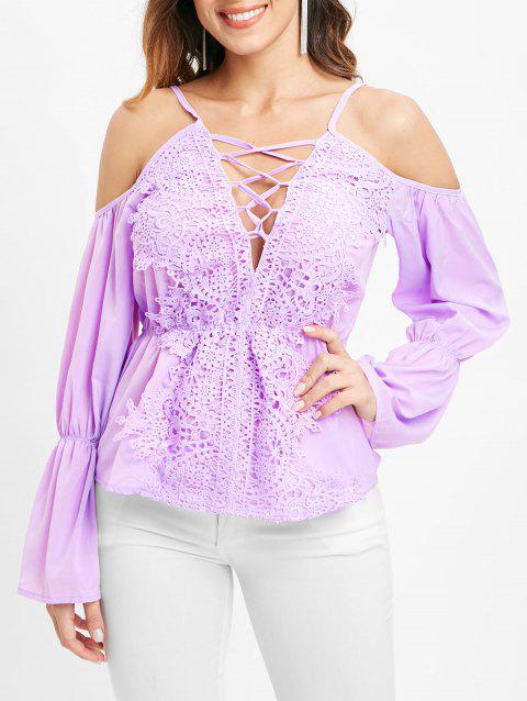 Criss Cross Lace Insert Long Sleeve Blouse - MAUVE XL