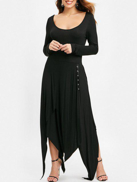 Lace Up Side Long Sleeve Asymmetrical Dress - BLACK XL