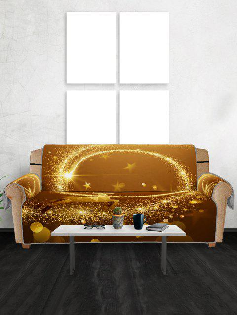 Christmas Elk Starlight Pattern Couch Cover - GOLD THREE SEAT