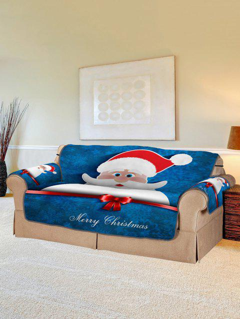 Christmas Santa Claus Pattern Couch Cover - multicolor TWO SEAT