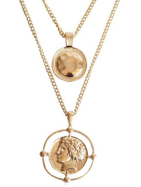 Layered Coins Pattern Pendant Necklace - GOLD