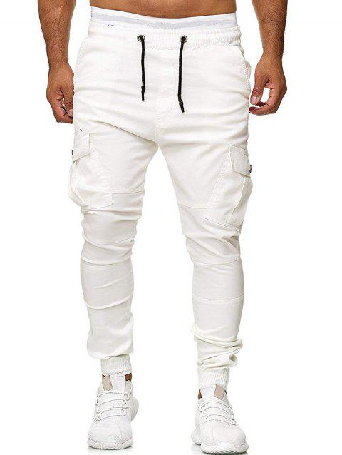 Multi Pocket Drawstring Jogger Pants - WHITE XS