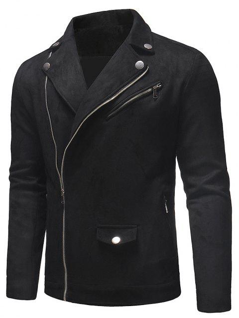 Side Zip Fly Turn Down Collar Jacket - BLACK S