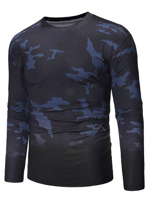 Gradient Camouflage Pattern Long Sleeve T-shirt - BLACK S