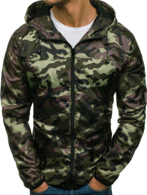 Camouflage Pattern Zip Fly Hooded Jacket - ARMY GREEN S