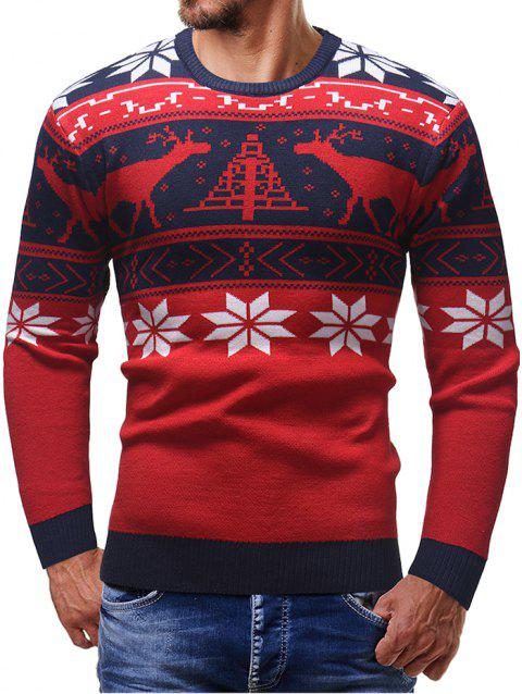 Christmas Elk Pattern Pullover Sweater - LAVA RED XL