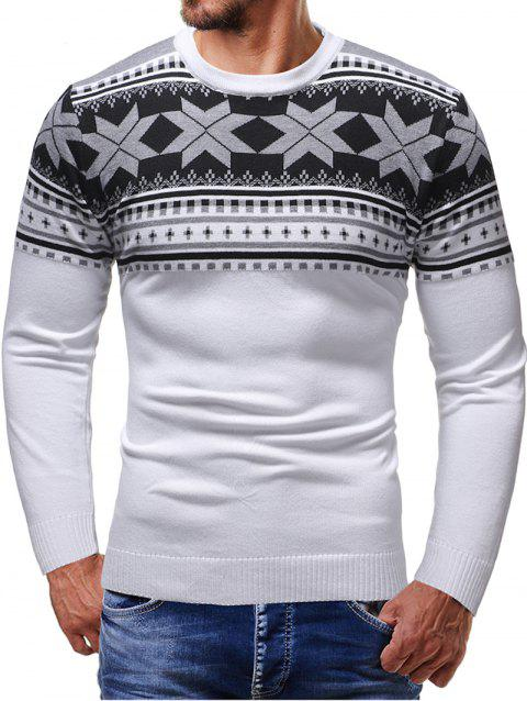 Christmas Jacquard Pattern Crew Neck Sweater - WHITE L