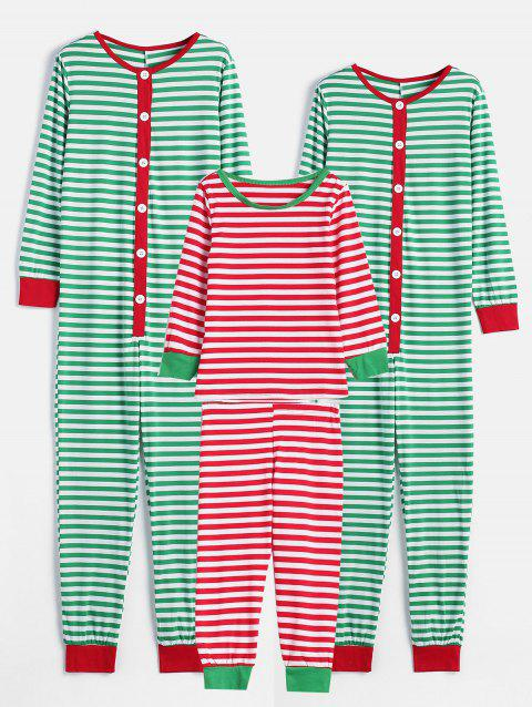 Striped Print Matching Family Christmas Pajamas - multicolor MOM M