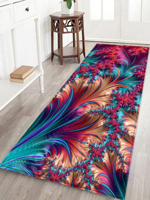 Feather Printed Decorative Floor Mat - DEEP PINK W24 X L71 INCH