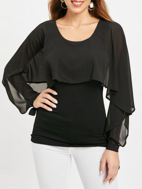 Long Sleeve Solid Color Capelet Top - BLACK S