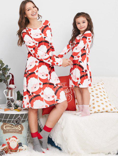 Santa Claus Print Family Christmas Pajama Dress - RED KID 110