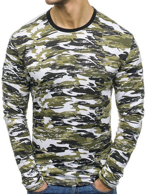 Multicolor Camouflage Pattern Long Sleeves T-shirt - CAMOUFLAGE GREEN M