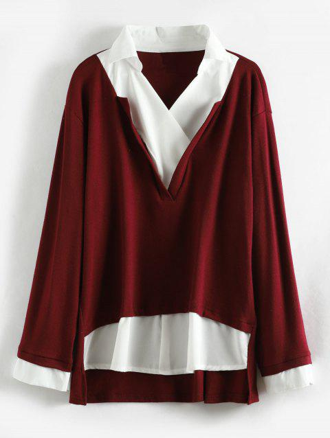Plus Size Faux Two Piece Shirt - RED WINE 3X