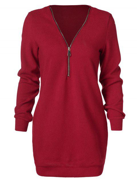 Half Zipper Longline Sweater - RED WINE 2XL