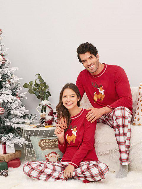 Long Sleeve Plaid Elk Print Family Christmas Pajamas - ROSSO RED DAD L