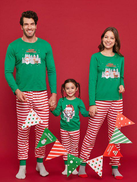 Striped Graphic Family Christmas Pajamas - LIGHT SEA GREEN MOM M