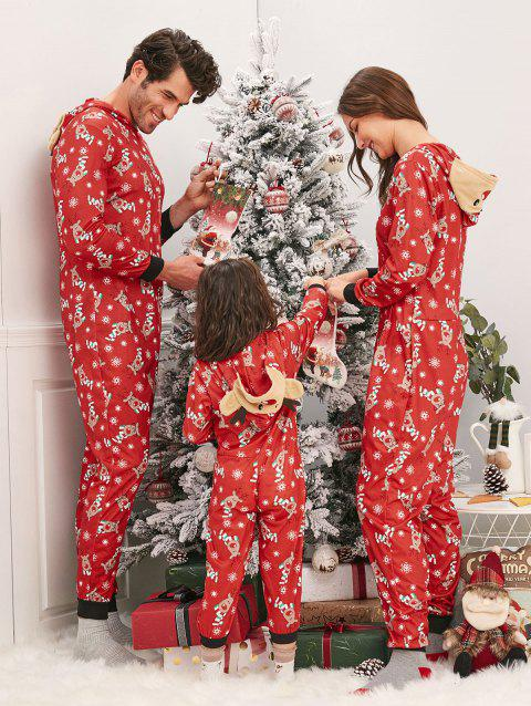 Christmas Elk Hooded Family Jumpsuit Pajama - RED MOM S