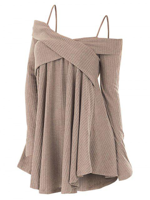 e3bdcda6a9fef 48% OFF  2019 Cold Shoulder Crisscross Tunic Sweater In LIGHT KHAKI ...