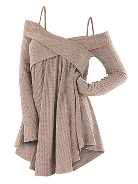 3aeaa12ee06 48% OFF  2019 Cold Shoulder Crisscross Tunic Sweater In LIGHT KHAKI ...