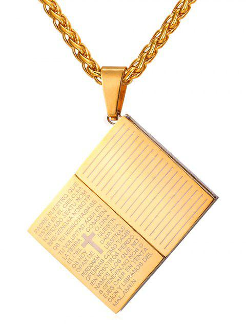 Stainless Steel Bible Shape Pendant Necklace - GOLD