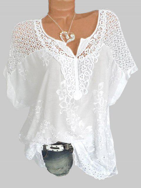 Embroidery Lace Panel Short Sleeve Shirt - WHITE 2XL