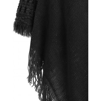 Hooded Fringed Sweater Cape