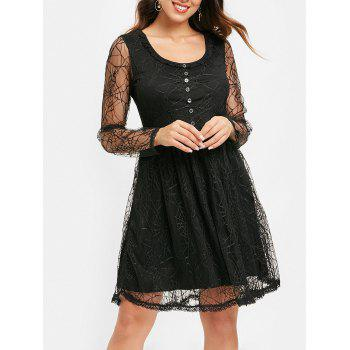 Long Sleeve Spider Web Lace Overlay Dress