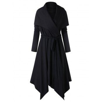 Plus Size Turn Down Collar Asymmetrical Coat