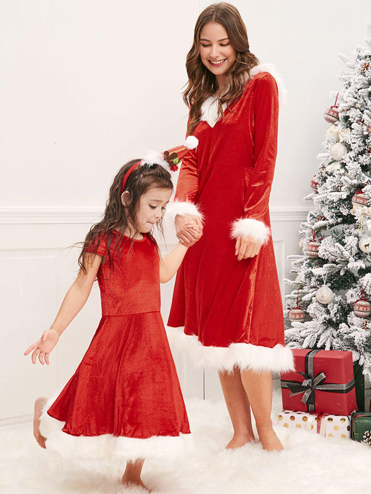 Christmas Mother and Daughter Fluffy Dress