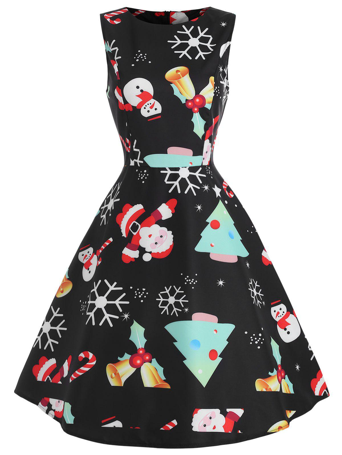 Vintage Christmas Graphic Sleeveless Dress - multicolor M