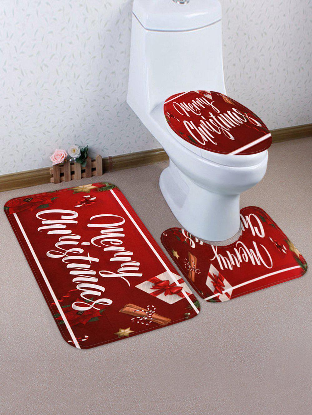 Christmas Flower Pattern 3 Pcs Toilet Mat Set - RED