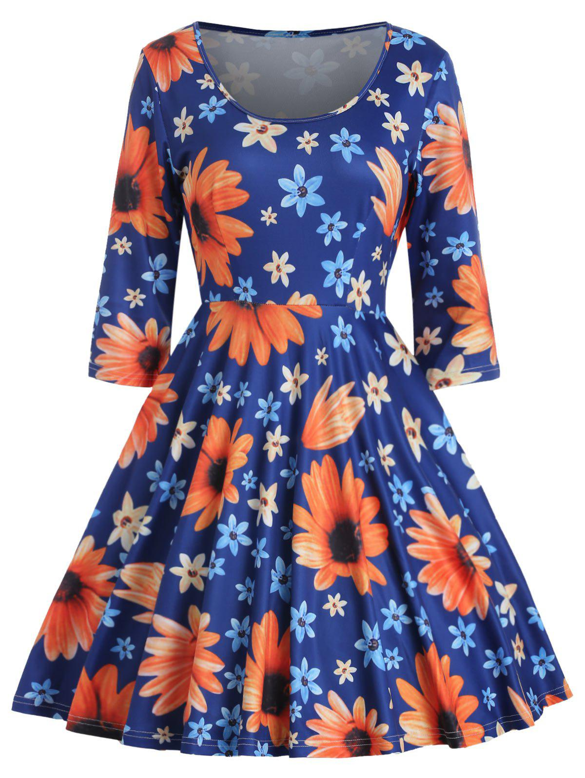 Floral Print High Waist Flared Dress