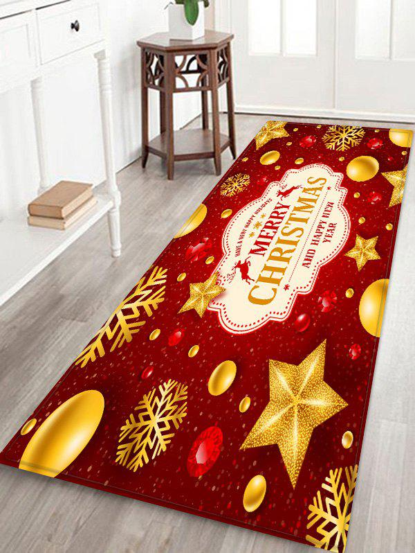 Christmas Snowflake Star Printed Decorative Floor Mat - RED W24 X L71 INCH